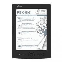 "Электронная книга RITMIX RBK-616, 6"" (15 см), 4 Gb, E-ink, MicroSD, черная"